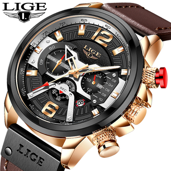 reloj hombre Watches Mens 2020 LIGE Chronograph Watches Man Quartz Clock Man Casual Military Waterproof Wrist Watch montre homme super speed v6 v0180 racer quartz movement wrist watch for man black brown white