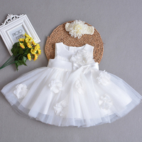 Baby Girl Christening Dress with Hairband Flower Appliques Tulle Lace Frock Vestidos Bebe Baptism Outfits First Birthday Dress