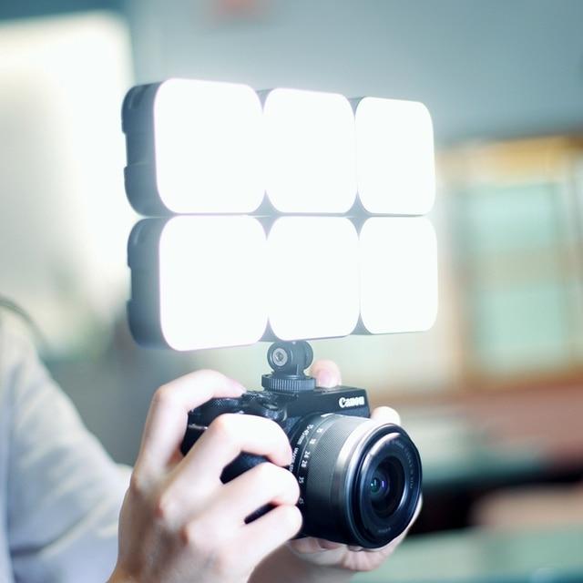 Ulanzi vl100c led video light 3200k-6500k 170° adjustable ballhead cold shoe vlog fill light 2000mah battery camera light lamp