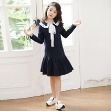Girl Dress England Style Pleated Dress Ruffle School Casual Solid Dresses for Girls 6 8 10 14 Years Old Sailor Collar Clothes недорого