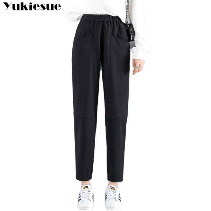 streetwear winter women's cargo pants female high waist elastic harem pants capris for women trousers woman Plus size 5xl 6xl