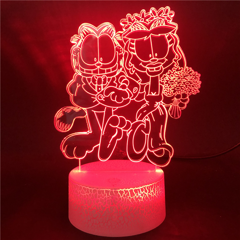 Bluetooth Base Garfield And Arlene Get Married LED Night Light Decor Festival Bright Base Multi-color With Remote Best Selling