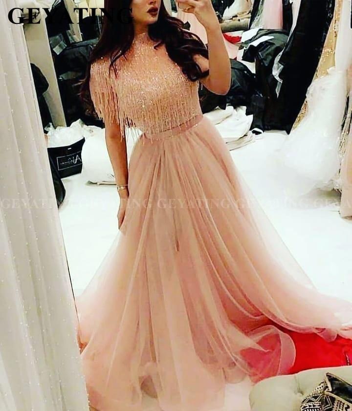 Luxury Beading Tassel Long Arabic Evening   Dress   2019 Blush Pink Dubai   Prom     Dresses   High Neck Lebanon Formal Party Gowns