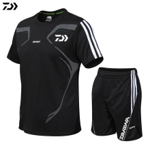 Комплект одежды для рыбалки на открытом воздухе, быстросохнущая полосатая футболка DAWA с коротким рукавом и шорты для рыбалки, мужской дышащий рыболовный костюм