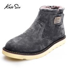 KATESEN New Genuine Leather Men Boot Fashion Man Winter Snow Boots keep Warm Boots Plush Ankle Snow Work Shoes Men's Snow Boots цена