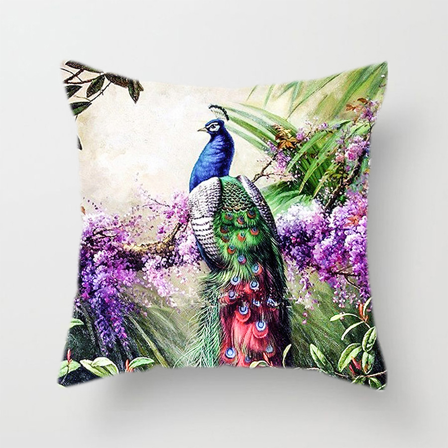 Peacock Cushion Cover Colorful Feather Decorative Pillows Case Home Living Room Decor for Sofa Polyester Linen Elegant Covers in Cushion Cover from Home Garden