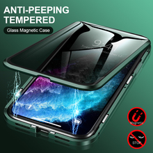 Magnetic double sided Tempered Glass Privacy Metal Phone Case Coque 360 Magnet Cover For Iphone X XR XS 11 Pro MAX 8 7 6s 6 Plus privacy tempered glass magnetic case for iphone 11 pro max xs max xr x 8 7 6s 6 plus se magnet metal bumper anti peeping cover