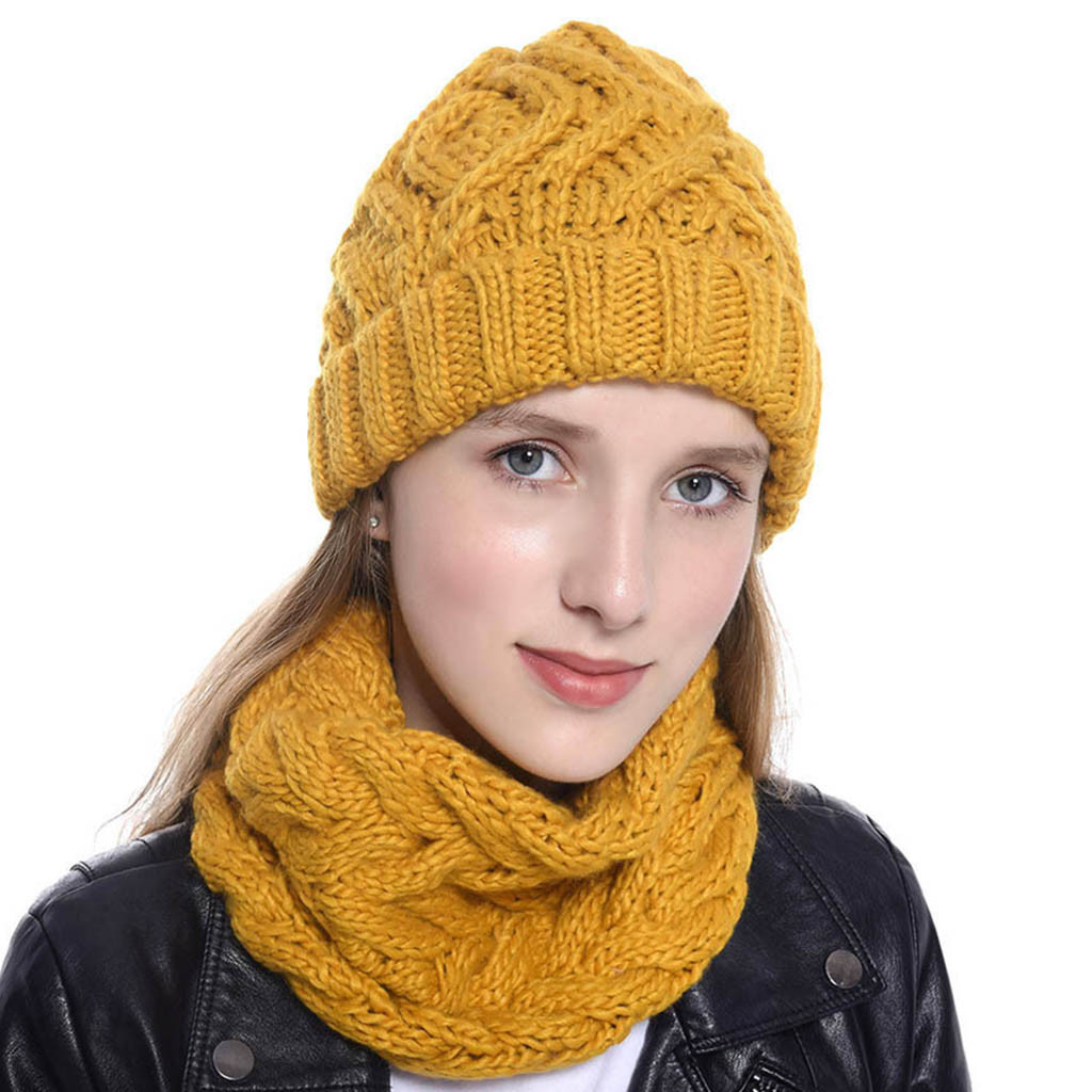 зима Hat And Scarf Winter Women Two Pieces Pure Color Knitted Cap Keep Warm Neckerchief Winter New FashioHat шляпа Femmes Beanie