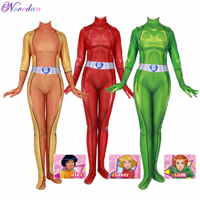 Totally Spies Cosplay Costume Anime Clover Sam Alex Bodysuit Suit Zentai Jumpsuits Disguise Halloween For Women Girls Kids