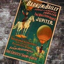 Póster de circo Vintage americano, póster clásico de lienzo de caballo Júpiter, pósteres de pared Vintage, pegatinas para decoración del hogar, regalo