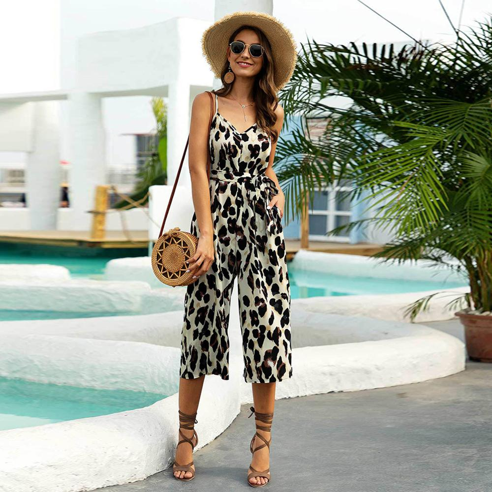 Women's Sling Adjustable Belt V-neck Jumpsuit Casual Fashion Leopard One-piece Wide Leg Pants Women's Summer Sexy Jumpsuit