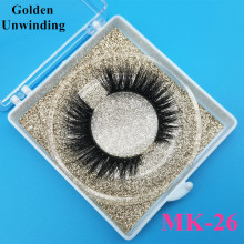 Golden Unwinding MK-26 3d natural siberian mink-eyelashes wholesale 3d mink lashes pack strip lashes custom packaging vendors