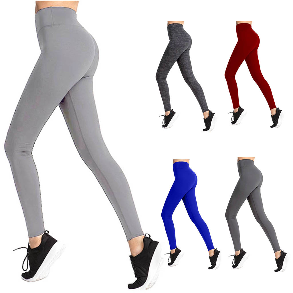 High Waisted Solid Yoga Pants Women's Fitness Sport Leggings Elastic Gym Workout Tights XS-L5 Running Trousers Plus Size #GH image