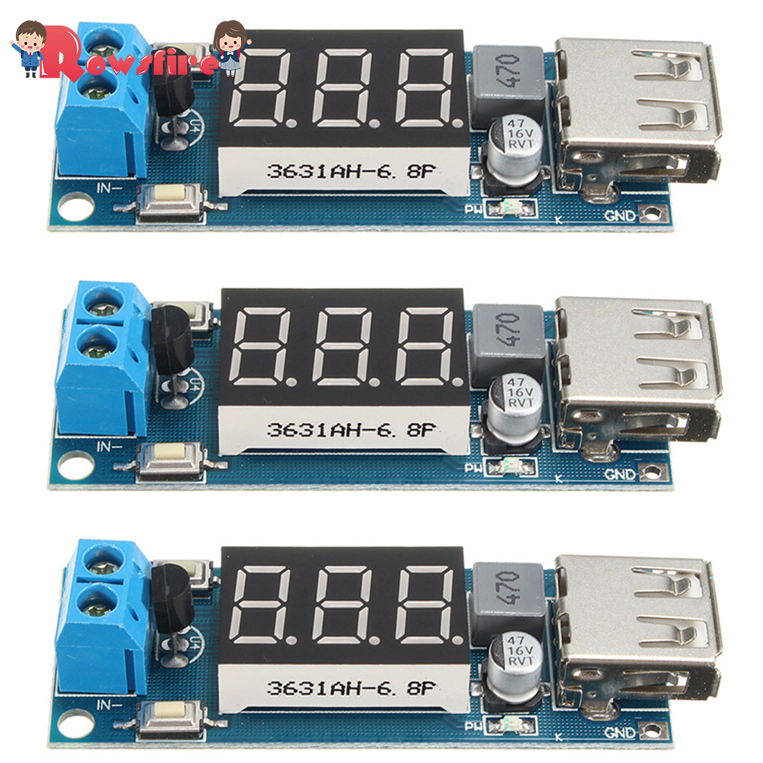 1/3Pcs 4.5-40V To 5V 2A USB Charger Step Down Voltage Converter Buck Module With Number Display Voltmeter