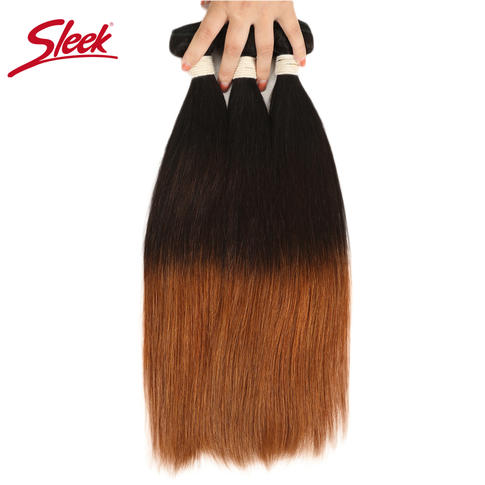 Sleek Ombre Brazilian Hair Straight T1B/4/30 Human Hair Weave <font><b>Bundles</b></font> Deal Non Remy Hair 3/4 Piece Weft Extensions 12 to <font><b>22</b></font> <font><b>Inch</b></font> image