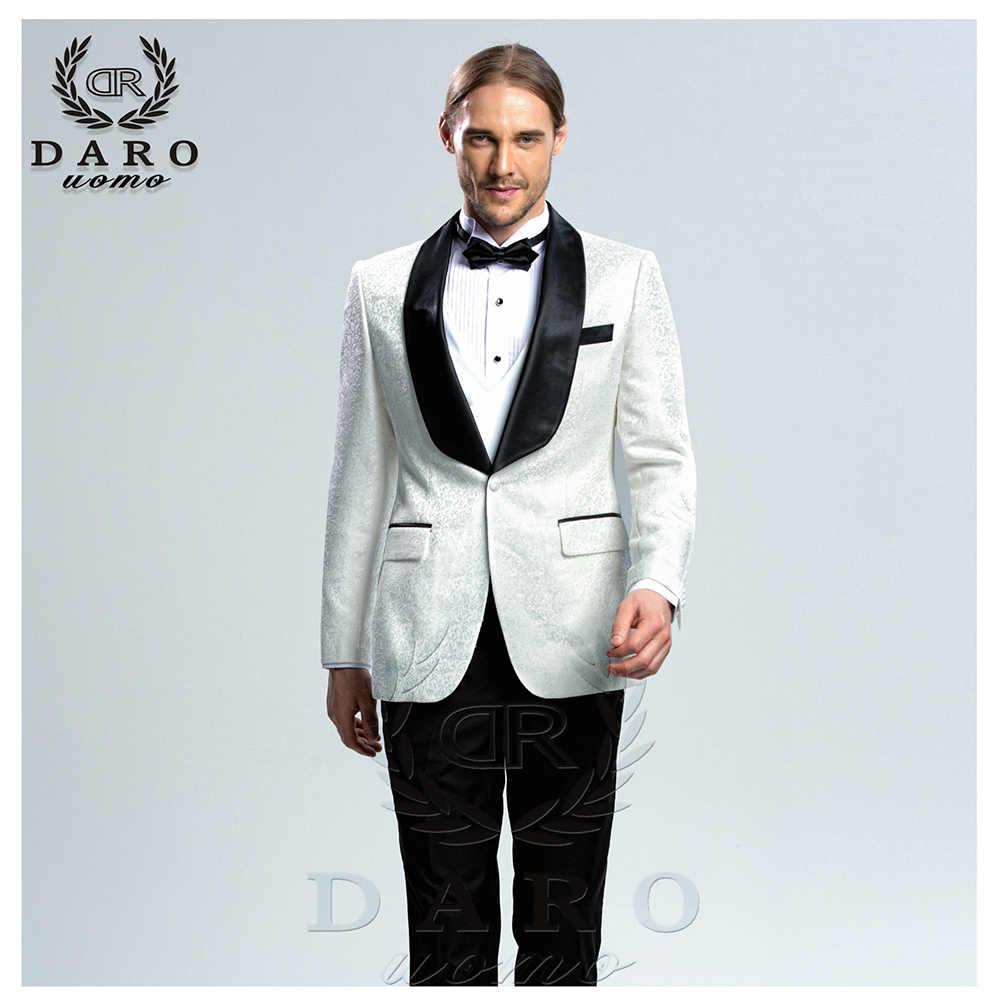 DARO 2019 nouveaux hommes costume 3 pièces smoking coupe ajustée bleu gris blanc pour robe de mariée costumes Blazer pantalon et gilet DR8859