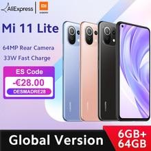 Em estoque versão global xiaomi mi 11 lite smartphone snapdragon 732g octa núcleo 6gb ram 64gb rom 64mp câmera traseira nfc 157g luz