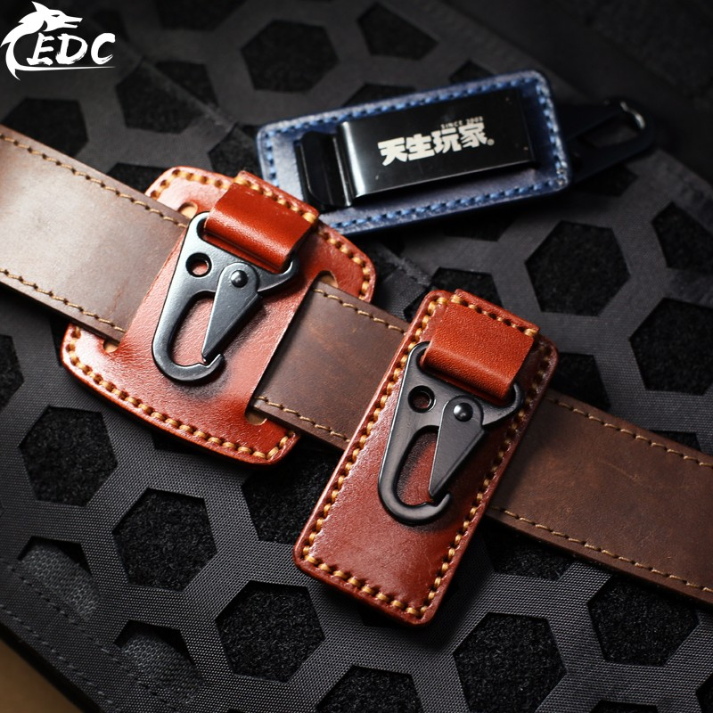 A170 Men's Belt Buckle Waist Hanging Car With Keychain EDC Fast Pendant Vegetable Tanned Leather Leather Eagle Buckle
