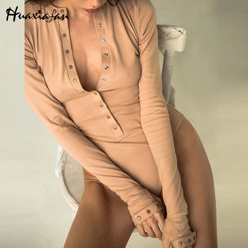 Huaxiafan Women Bodysuits Solid Long Sleeve Jumpsuits Botton Sexy Rompers Autumn Tops Vintage Bodysuits Elegant Casual Rompers