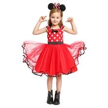 Милая одежда для ролевых игр с Минни Маус для маленьких девочек, летнее праздничное платье из тюля с узором в горошек для малышей повседневн...