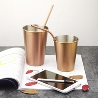 Northern Europe simple Metal Wind 304 stainless Steel Rose Gold Beer Cup Copper gargle Cup