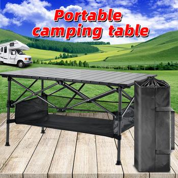 Składany stół kempingowy stolik na zewnątrz Camping stół kuchenny przenośny stół kempingowy stół podróżny stół kempingowy składany stół jadalny tanie i dobre opinie NoEnName_Null CN (pochodzenie) Outdoor multifunctional folding table 50kg-80kg L95cmXW55cmxH50cm L55cmxW18cmxH22cm 4 34kg