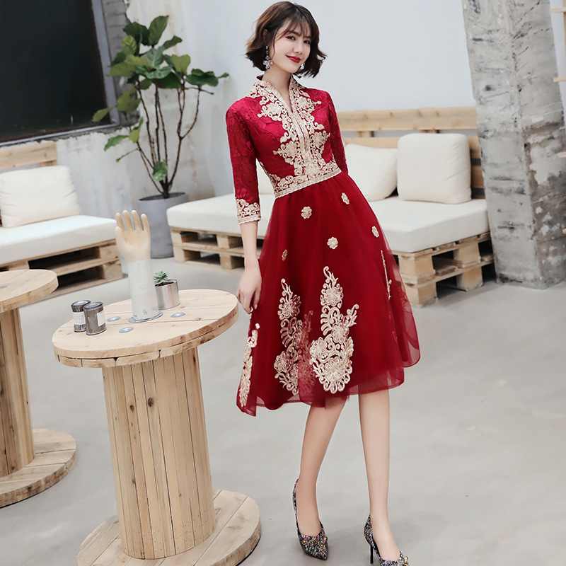 Dress For Toast Chinese Style 2019 Autumn Engagement Dress Bride Back Door Marriage Clothes Return Banquet Wedding Formal Dress