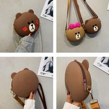 Bags For Women New Cute Cartoon Bear Shoulder Bag Fashion Handbag Phone Pouch Silicone Ladies Purses And Handbags Crossbody Box cute bear print and tassel design crossbody bag for women