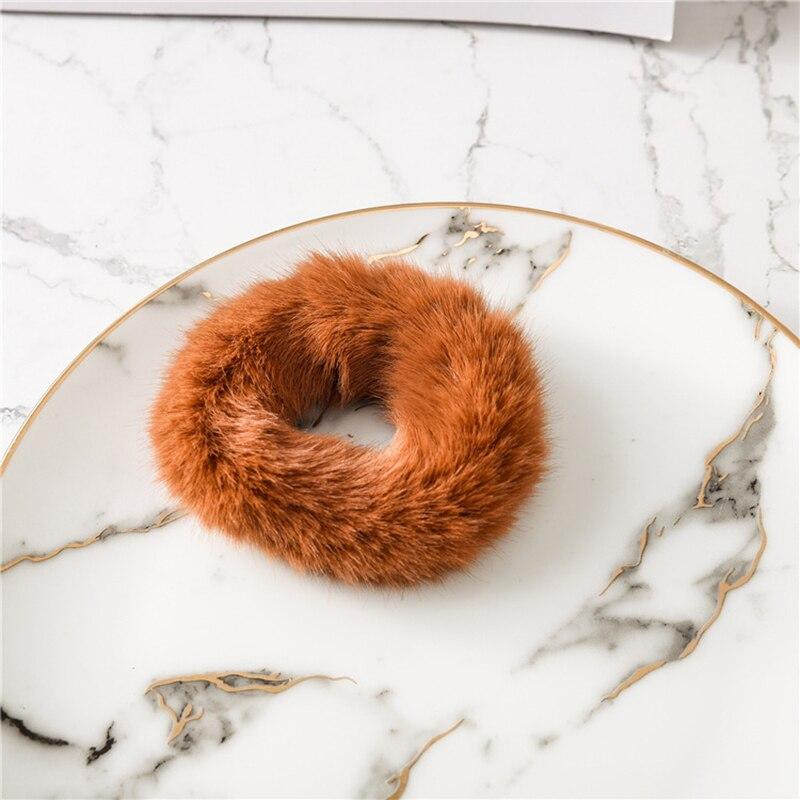 Мягкая Плюшевая повязка для волос резинки для волос натуральный мех кроличья шерсть мягкие эластичные резинки для волос для девочек однотонный цветной хвост резинки для волос для женщин - Цвет: Коричневый