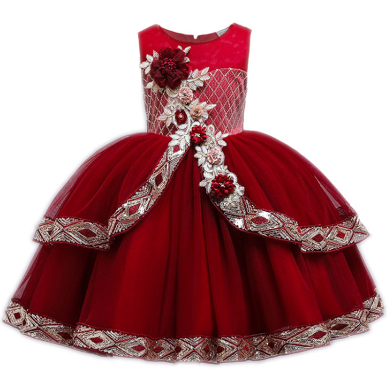 2019   Girls   Pageant Tutu   Dress   Ball Gowns For   Girls   Kids Party Wedding   Dress   Elegant   Flower   Princess   Dress   3-12 Year Vestidos