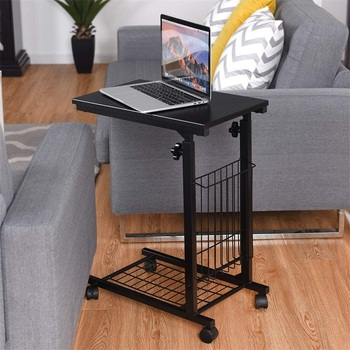 C Shaped Height Adjustable Sofa Side Snack End Table Compact Size Sturdy Steel Frame Storage Mesh Rolling Caster Tables HW59245