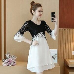 Image 4 - 55 100kg Can Wear Plus Size New Arrival Above Knee Mini A line Chiffon Women Contrast Color White Black Lace Cocktail Dresses