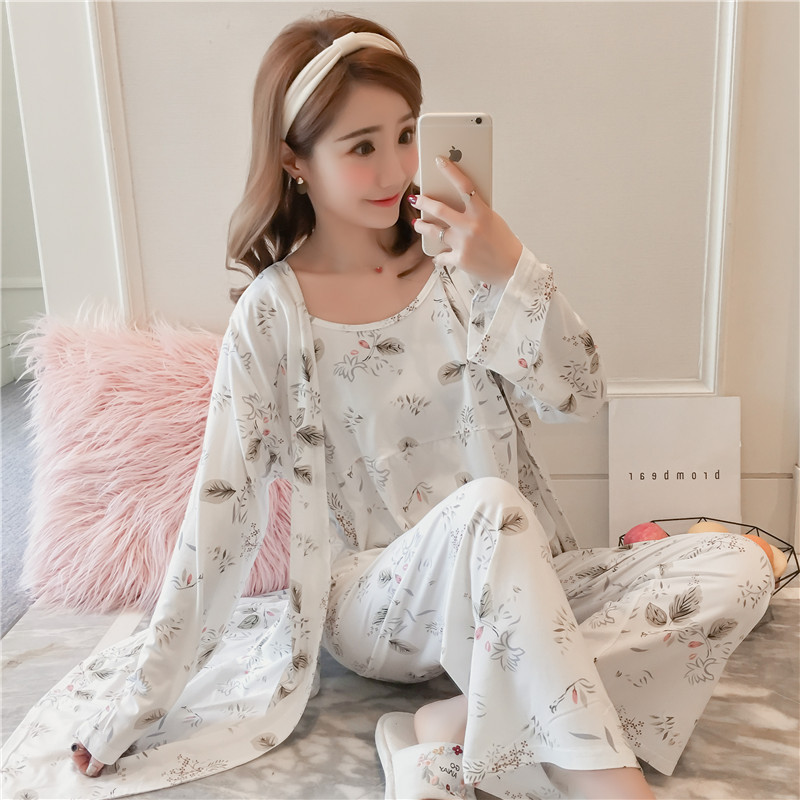 Pajamas Women's Three-piece Set-Autumn & Winter Long Sleeve Cute Korean-style Student Fresh-Nursing Women's Home Wear