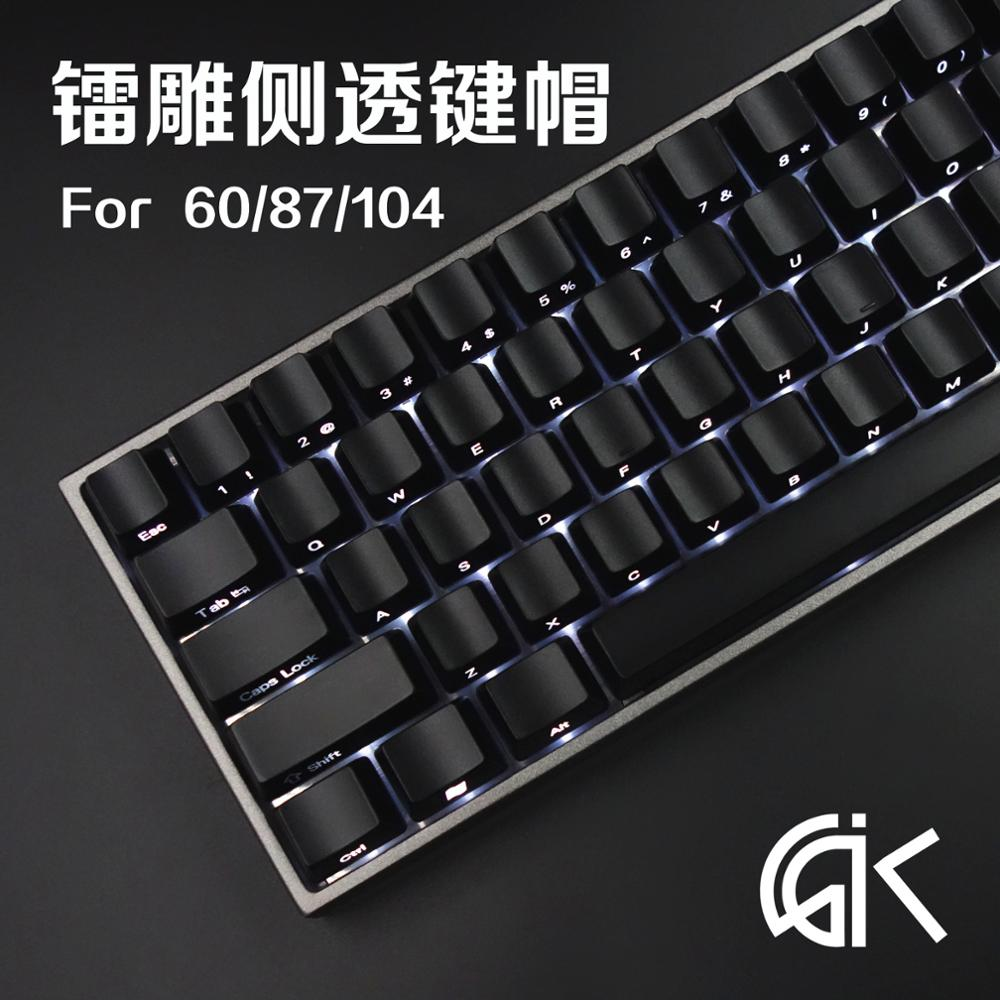 Mechanical Keyboard Personality Light Transmission Key Cap ABS Side-engraved Black <font><b>Keycaps</b></font> for <font><b>68</b></font> 87 104 Keys Side Transmission image