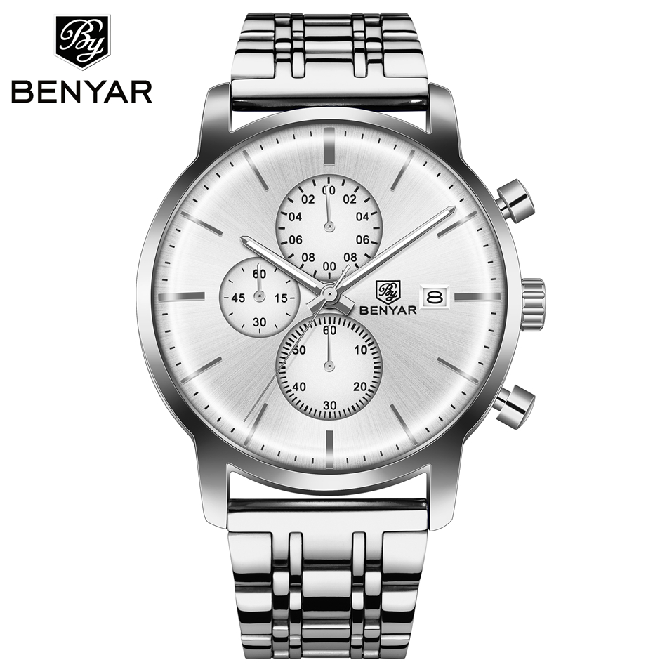 BENYAR Men Top Brand Luxury Quartz Stainless steel Casual Business Watch Waterproof leather Sports watch