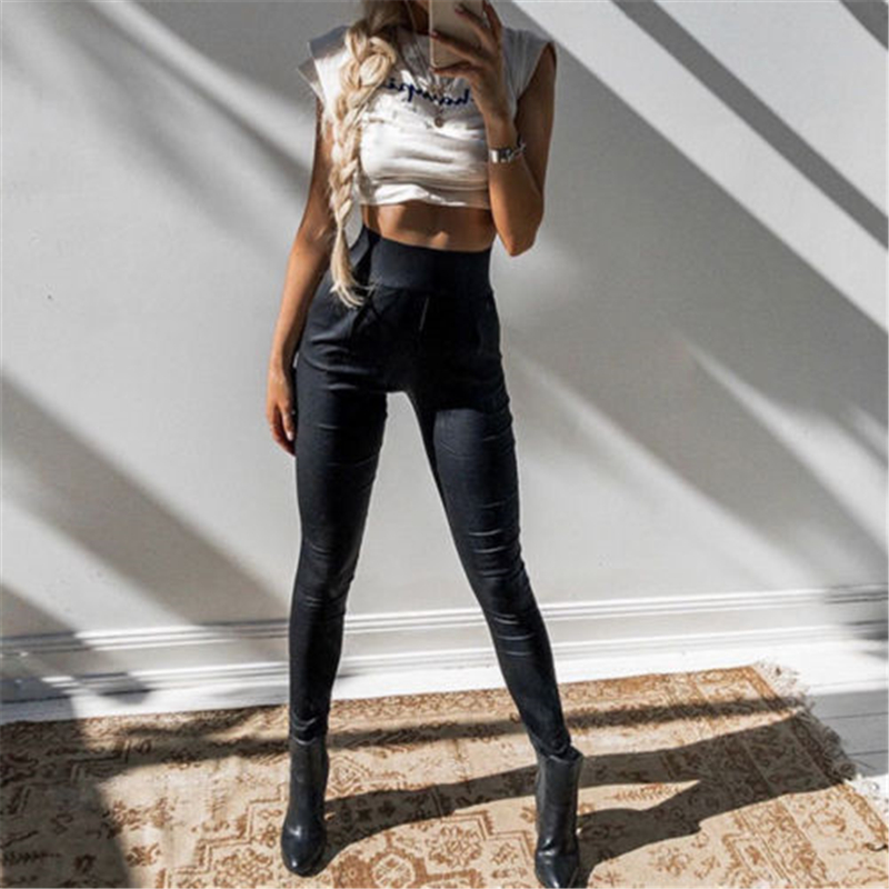 Hirigin Women Lady PU Leather Sexy Skinny Stretch Slim High Waist Black Trousers Pencil Pants