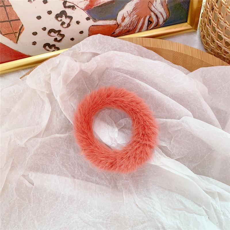 Мягкая Плюшевая повязка для волос резинки для волос натуральный мех кроличья шерсть мягкие эластичные резинки для волос для девочек однотонный цветной хвост резинки для волос для женщин - Цвет: 42