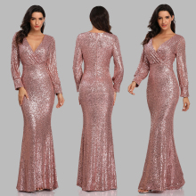 New Sexy V Neck Mermaid Evening Dress Long Formal Prom Party Gown Full Sequins long Sleeve Galadress Vestidos Occassion Dresses