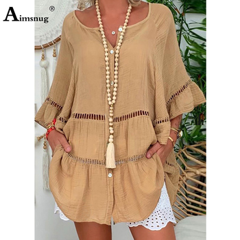 2020 Summer Blouse Long Casual Shirts Female V Neck Blusas Flare Sleeve Tunic Fashion Hollow Out Plus size Women Tops 4xl 5xl women shirts casual v neck blouse tassel denim top ladies tunic long sleeve shirt summer long tops fashion