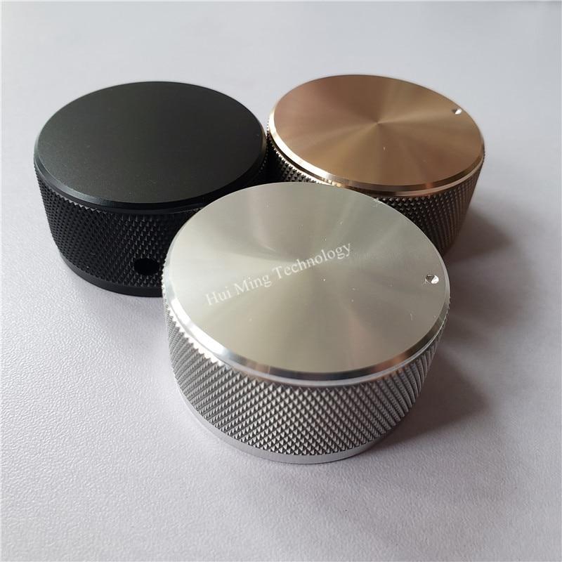 1pcs High Quality Aluminum Knob Solid Potentiometer Knob 44*22*6mm Knurled Volume Potentiometer Knob For HI-FI Amplifier