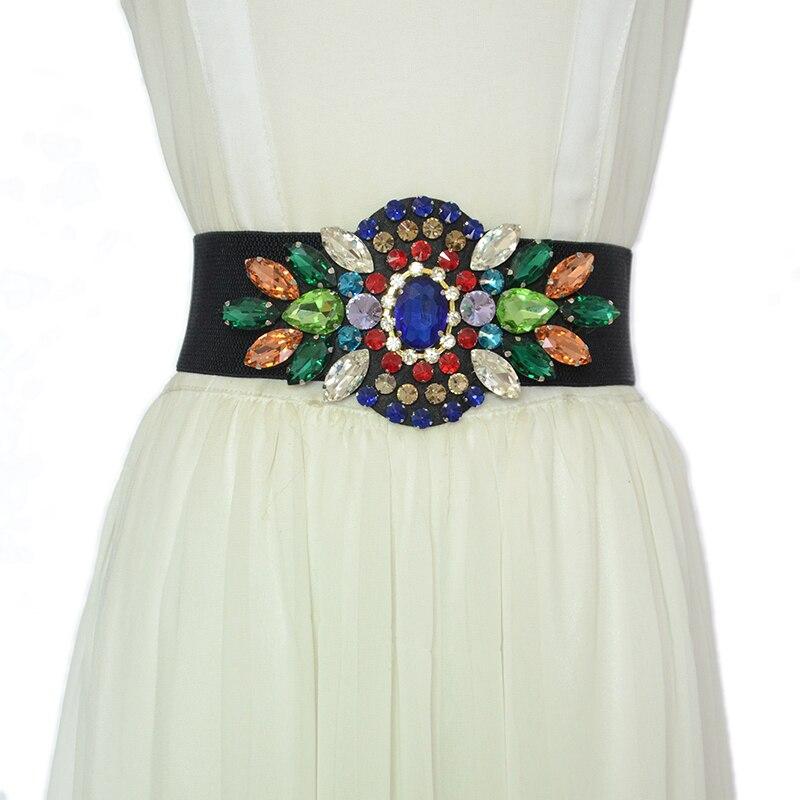 Luxury brand 2020 New Fashion Ladies Elastic Belt Sweet Elastic Rhinestone Inlaid Belt Female Girdle Dress Belt bg-1615