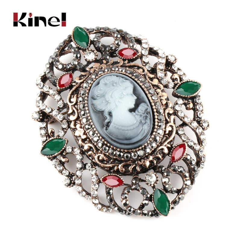 Kinel Hot Hollow Crystal Flower Oval Lady Queen Cameo Brooch For Women Antique Gold Party Vintage Brooch Jewelry Drop Shipping