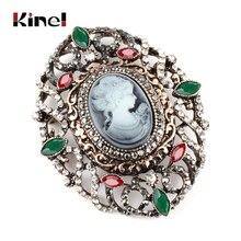 Kinel caliente hueco cristal flor ovalada Señora Reina camafeo broche para mujer antiguo oro fiesta Vintage broche joyería gota envío