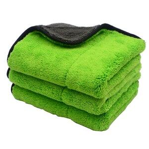 Image 2 - Chiffons de nettoyage de voiture en Microfibre, peluche Super épaisse, 3 pièces, 45cm x 38cm, 800 g/m², soins de voiture, cire Microfibre, polissage des détails, serviettes douces