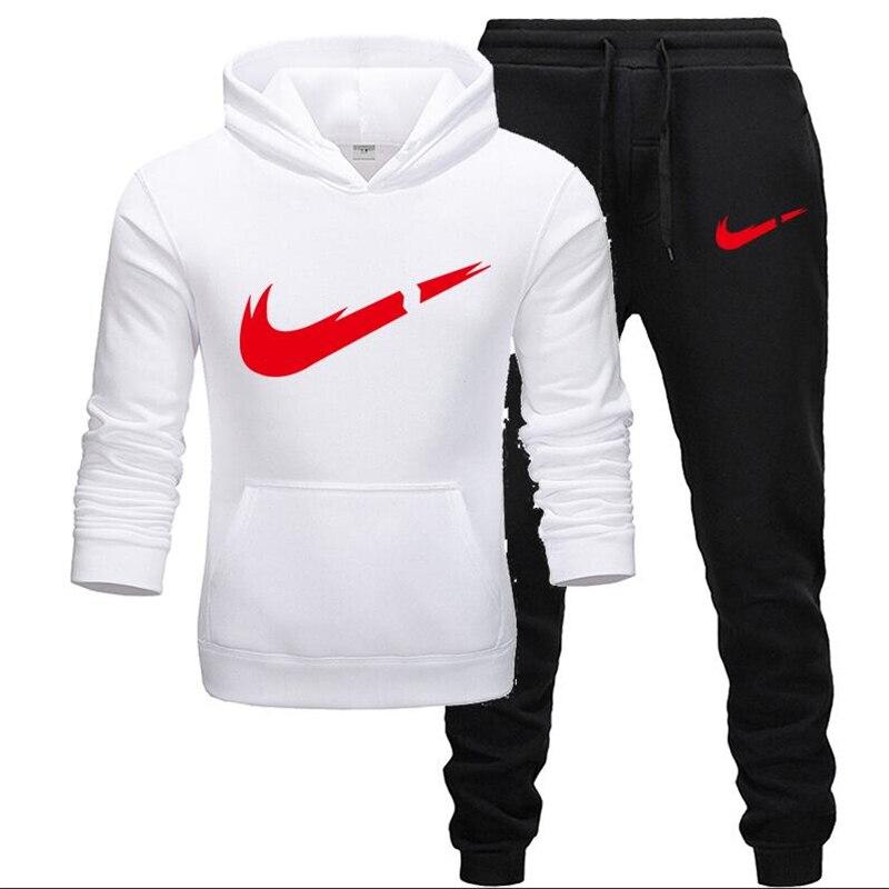 2020 New Autumn Brand Tracksuit Men Thermal Men Sportswear Fleece Thick Hoodie+Pants Sporting Suit Casual Sweatshirts Sport Suit