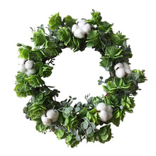Christmas Wreath Cotton Farmhouse Rustic Floral Round Artificial Green Leaves  for Outdoor Indoor Wedding Decor 27