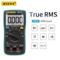 RM101 ZOYI ZT101 multímetro Digital contraluz amperímetro de CA/CC 6000 cuentas amperímetro de CA/CC voltímetro ohmios medidor de voltaje portátil