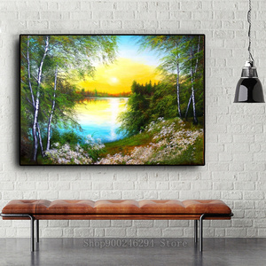 Imagem natural da árvore do lago de strass mosaico completo bordado pintura com diamantes pintura venda nascer do sol flor paisagem ff648