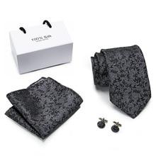 Free shipping Extra long size 145cm*8cm Ties Black Printed  Hanky Cufflinks Tie Set Mens Silk 8cm Wedding Groom Cravata
