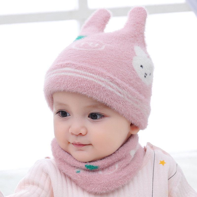 Cartoon Thick  Baby Hat Scarf Set Autumn  Winter Warm Cute Rabbit Knitted  For Girls Boys  Head Cap